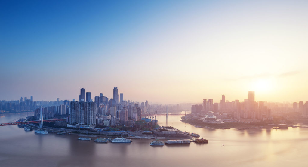 cityscape and skyline of chongqing new city at sunrise
